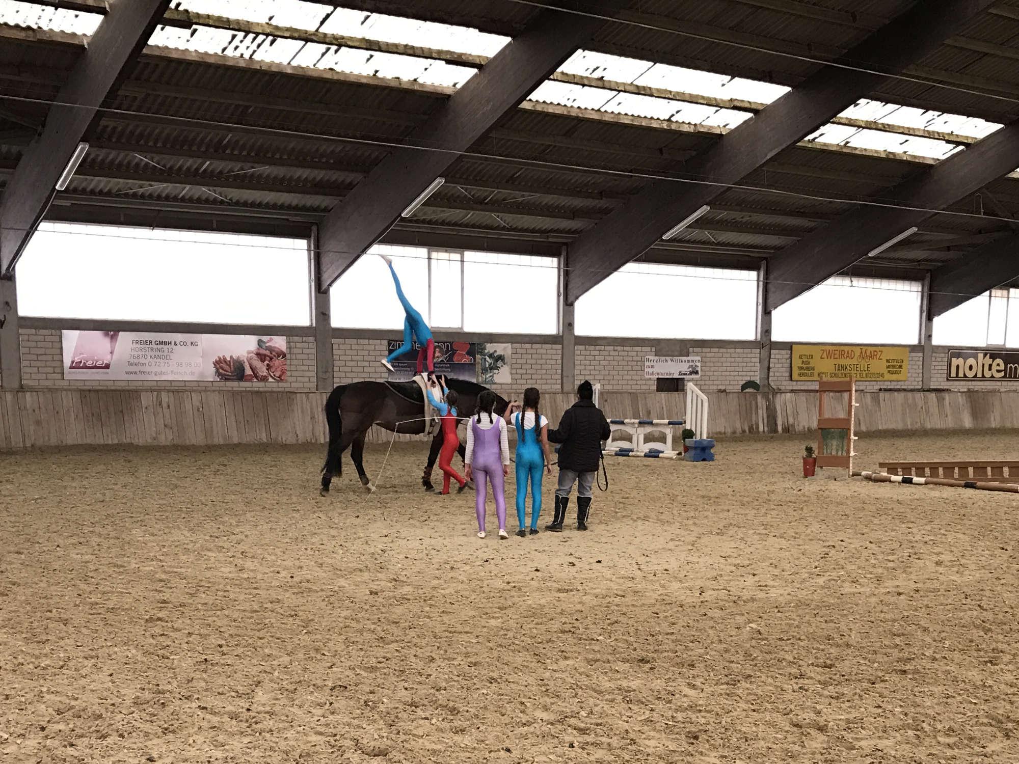 Hobbies für Kinder Voltigieren Kind auf dem Pferd Handstand üben