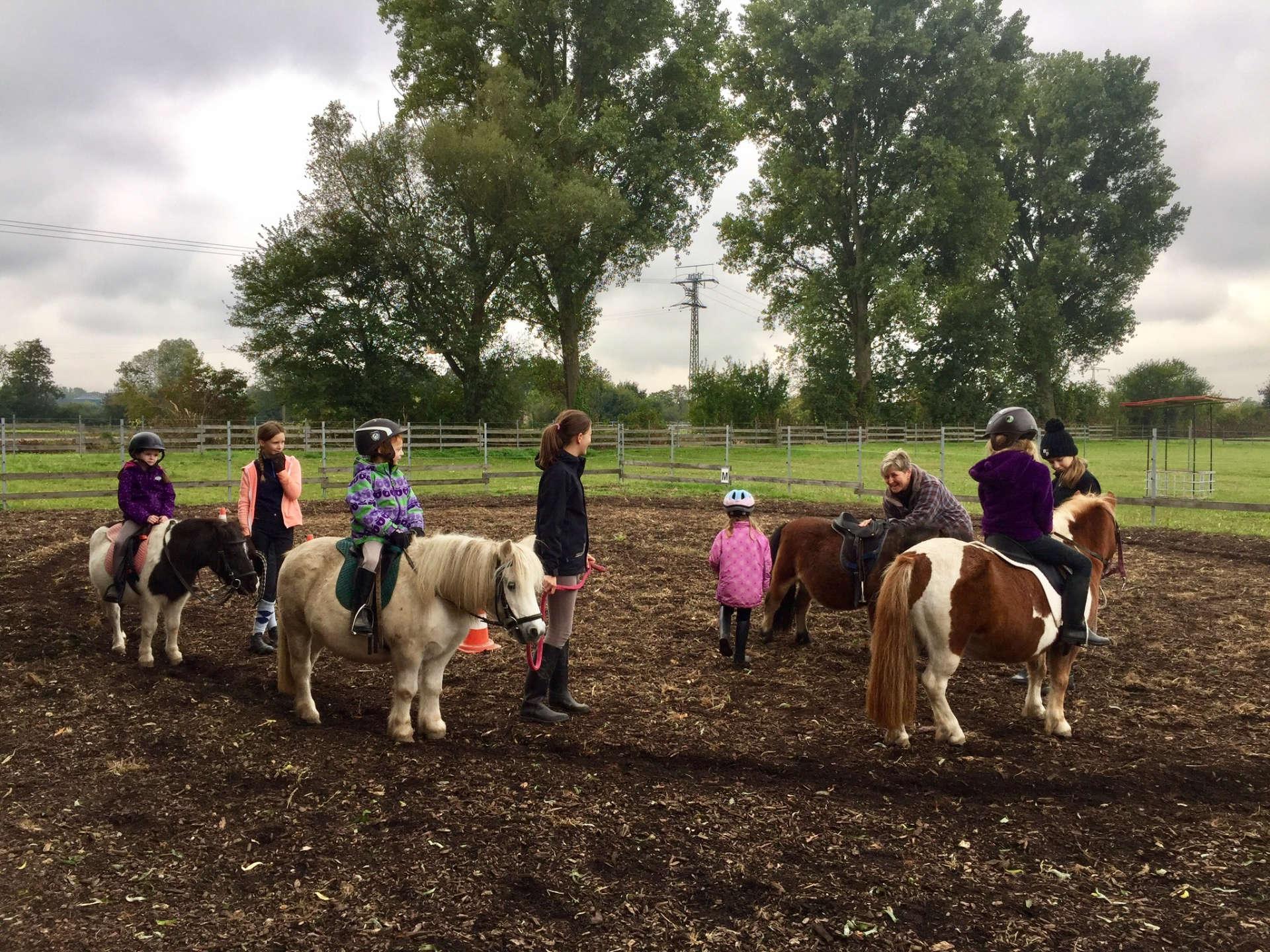 Hobbies für Kinder Gruppe beim Ponyreiten in Lustadt