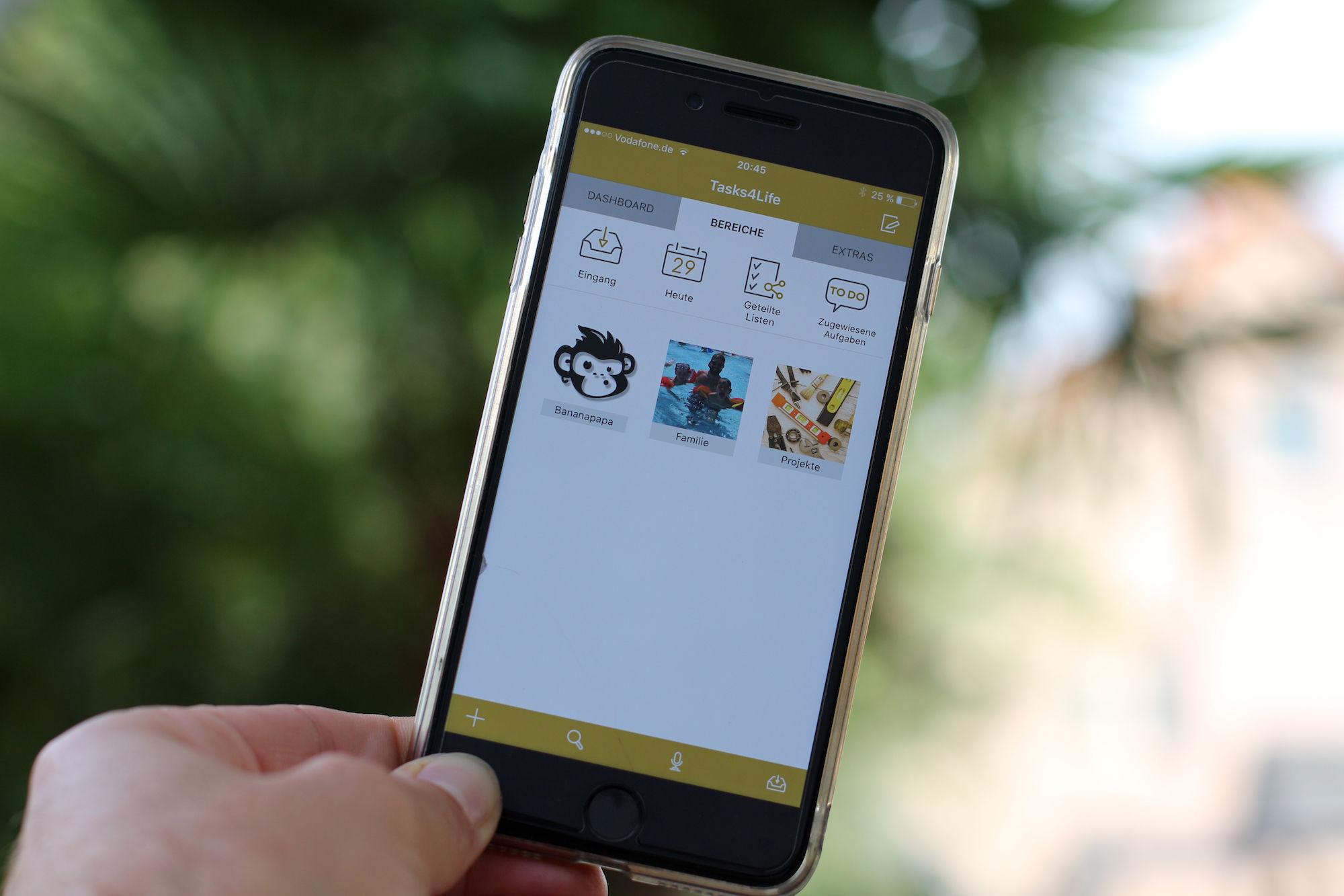 Bild zeigt iPhone App Tasks4Life Bereiche