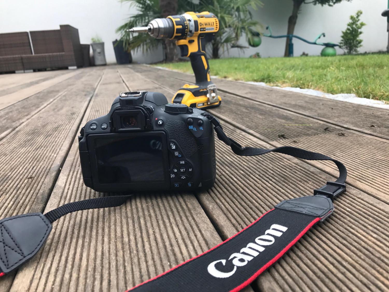 Terrasse mit DeWalt Akkuschrauber und Canon EOS 700D